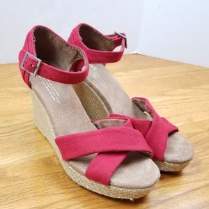 Toms Wedge Heels Ankle Strap Red Shoes